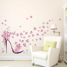 Load image into Gallery viewer, New 3D Pink Butterfly High Heels Wall Sticker for Girls Room