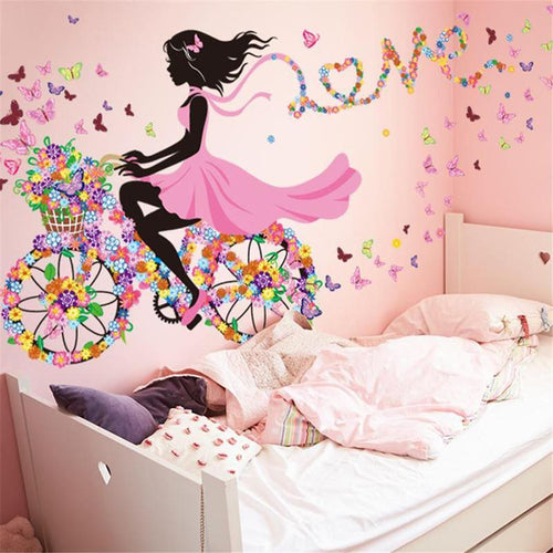 Fairy Girl Butterfly Bike 3D Wall Stickers for Girls Room