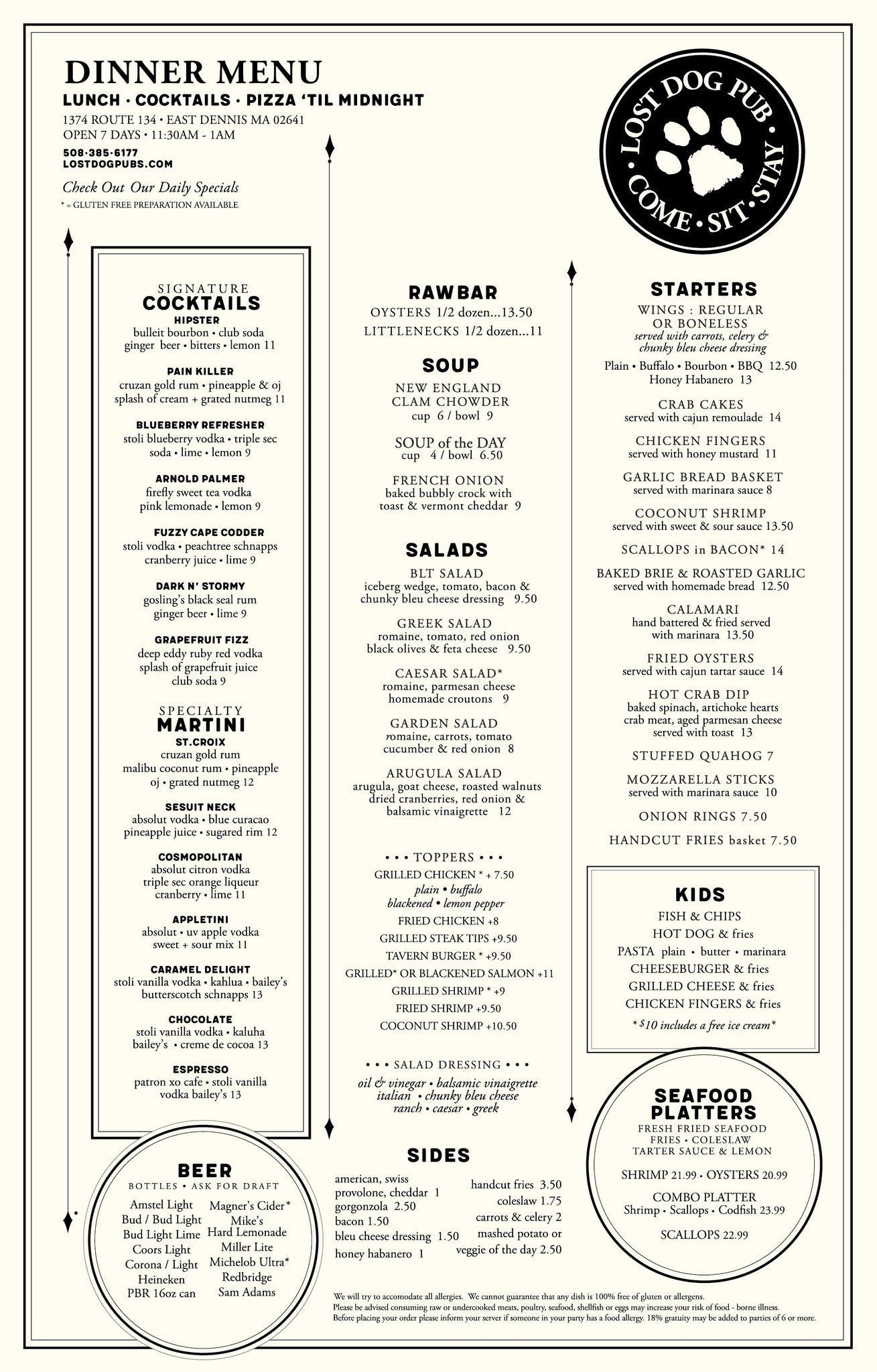 LDP DENNIS MENU – LOST DOG PUB