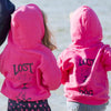 Lost Dog Pub Youth Hoodie Old Dog on Back Hot Pink on Models