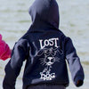 Lost Dog Pub Youth Hoodie Old Dog on Back on Models at the Beach