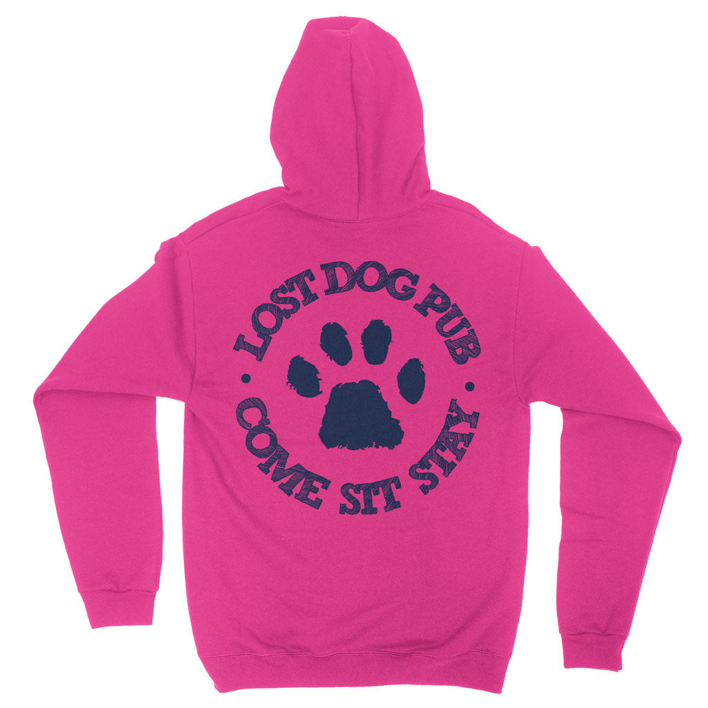 Lost Dog Pub Youth Hoodie with Paw Logo Back Hot Pink