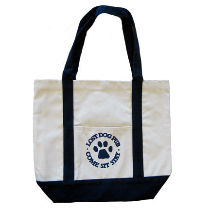 Lost Dog Pub Canvas Tote Beach Bag with Paw Logo