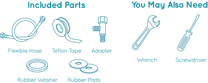 Included Parts: Adapter, Rubber Washer, Water Source Hose, Hot Water Source Host, Teflon Tape, Rubber Pads  You may also need: Wrench, Screwdriver