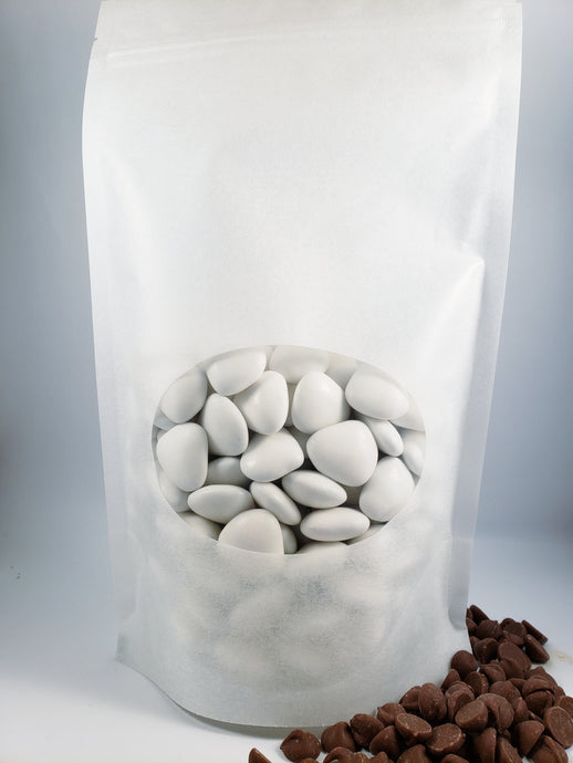 Amorini Dark Chocolate Center Candy Confetti - White 1 lbs