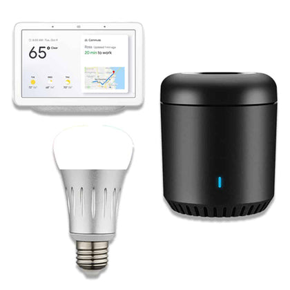 Google hub, remote and smart bulb