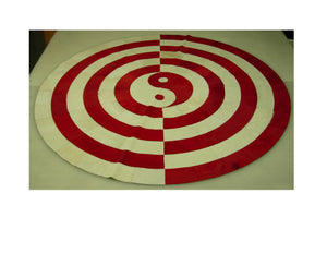 Red and White Yin-Yang Hair on Hide Rug