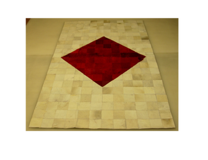 White with Red Diamond Center Hair on Hide Rug