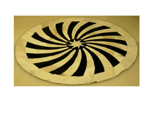 Black and White Circular Leather Patchwork Rug with Star Center