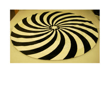 Load image into Gallery viewer, Black and White Circular Leather Patchwork Rug with Star Center
