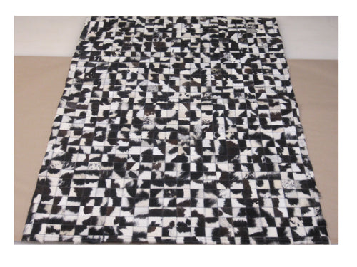 Black and White Patchwork Hair on Hide Leather Rug