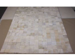 Unique Solid White Patchwork Hair on Hide Rug with 4x4 Squares