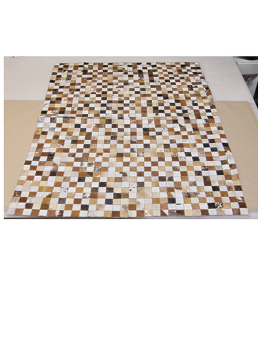 Field of Browns Patchwork Hair on Hide Rug