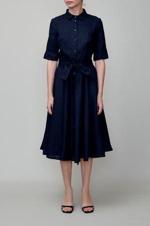 Shirt dress dark blue linen