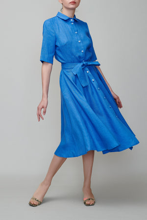 Shirt dress royal blue linen