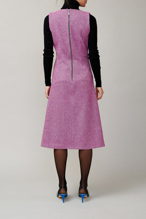 Magenta tweed sleeveless dress MM 1708
