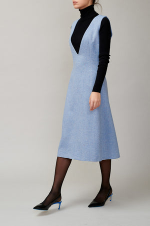 Blue tweed sleeveless dress MM 1708