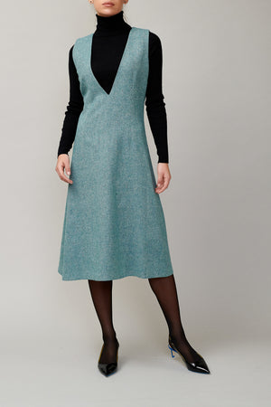 Green tweed sleeveless dress MM 1708