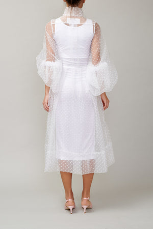 White dotted organza shirt dress MM1709