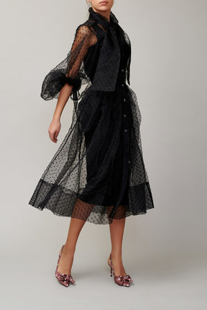 Black dotted organza shirt dress MM1709