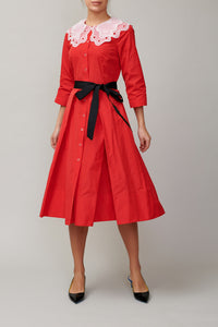 Red taffeta dress with white collar