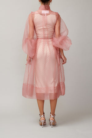 Pink dotted organza shirt dress MM1709