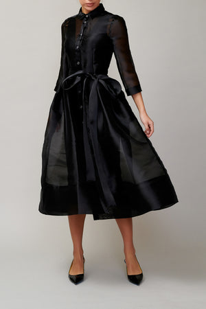 Black organza shirt dress