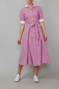 Pink checkered poplin dress with white collar and cuffs
