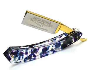 STRAIGHT RAZOR, PYTHON german high speed steel, shave ready, modern tie dye acetate handle, groomsmen gift-Shokuninknives