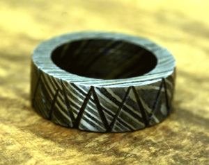 Hand Forged & Finished Damascus Ring, Damascus Steel Ring, Hand Carved, US size 7.5 ring, wedding band, engagement ring, rings, bands-Shokuninknives