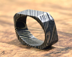 Hand Forged & Finished Damascus Steel Ring, Damascus Ring, Hand Carved, US size 7.75 ring, wedding band, engagement ring, rings, bands-Shokuninknives