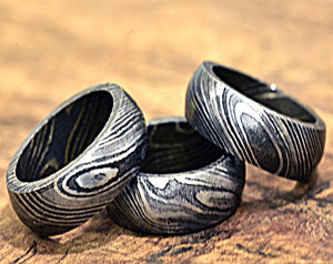 Damascus Ring, Hand Forged & Finished Damascus Steel Ring, Copper Inlay Hand Carved, US size 9 ring, wedding band, engagement ring-Shokuninknives