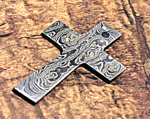 Damascus Pendant, Damascus Cross, Damascus Steel Cross, Damascus Unique Cross, Damascus Necklace, Damascus Chain, Hand Forged Damascus Cross-Shokuninknives