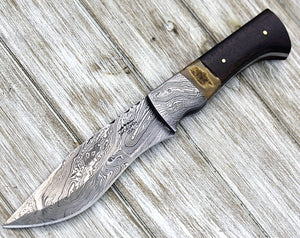 ZEUS, Damascus steel knife, damascus knife, FIRE Pattern hunting knife, Bowie knife 10.5 walnut damascus & stag Handle 30001-Shokuninknives