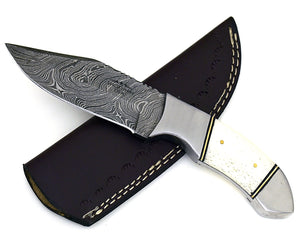 "Tomahawk damascus steel hunting knife, DAMASCUS KNIFE, CLIP point, new, 9"", tactical camping utility knife-Shokuninknives"