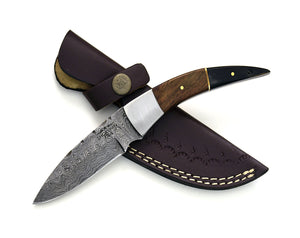 "DAMASCUS KNIFE, DAMASCUS skinning knife, 8"" bison horn & walnut handle knife, hand stitched leather sheath everyday carry knife-Shokuninknives"