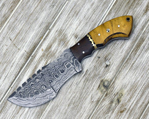"Custom, 10"", DAMASCUS KNIFE, tracker knife, Damascus steel knife, hunting, exotic Yellow Heart & Walnut wood handle, leather sheath-Shokuninknives"