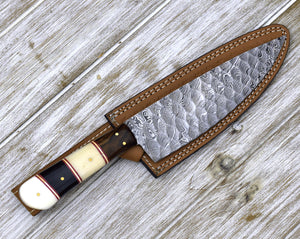 "DAMASCUS STEEL pro CHEF'S knife, 10"", Damascus knife for kitchen, Composite handle horn bone wood, personalized chef knife, leather sheath-Shokuninknives"