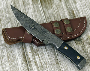 "DAMASCUS KNIFE, Damascus steel knife, skinning camping utility hunting everyday carry knife 9"" PERSONALIZE 3488-1 Damascus custom-Shokuninknives"