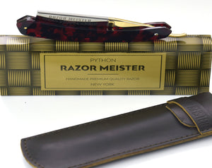 RAZOR MEISTER PYTHON german high speed steel, shave ready, faux tortoise shell handle straight razor, groomsmen gift, personalize razor-Shokuninknives
