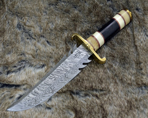 "DAMASCUS KNIFE, CUSTOM Bowie knife, 13.0"" ,Hand Made, Damascus steel hunting knife, Brass Guard & Pommel, Camel Bone, bull horn, full tang-Shokuninknives"