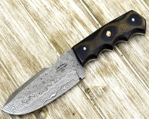 "DAMASCUS HUNTING KNIFE, Custom Damascus knife, 9.0"" , Hand forged, Damascus steel knife, Damascus Guard, Camouflage Composite Handle-Shokuninknives"