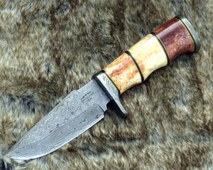 "DAMASCUS HUNTING KNIFE, Custom Damascus knife, 10.0"" ,Hand forged, Damascus steel knife, Damascus Guard, Bull Horn & Camel Bone Handle-Shokuninknives"