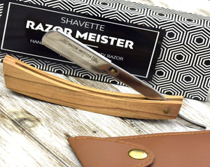 Personalized Straight razor cutthroat w/ Replaceable blades & Walnut wood handle Great Present for father's day boyfriend or groomsman gift-Shokuninknives