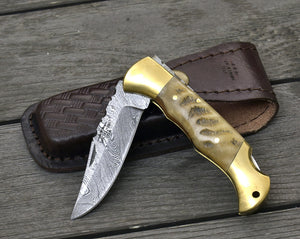 "Damascus Pocket knife, Folding knife, damascus knife, EDC damascus steel hunting utility pocket knife camping knife 7.25"" Every day carry-Shokuninknives"