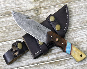 "Hunting Knife 10"" Skinning knife, Damascus steel knife blade custom handmade-Shokuninknives"