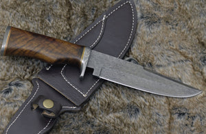 "DAMASCUS HUNTING KNIFE, Custom Damascus Bowie knife, 12.0"", Hand forged, Damascus steel knife, Damascus Guard, Walnut wood handle-Shokuninknives"
