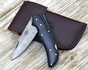 POCKET KNIFE, Damascus Pocket knife, every day carry, Damascus folding pocket knife, personalized knife, folding knife, black pekka wood-Shokuninknives