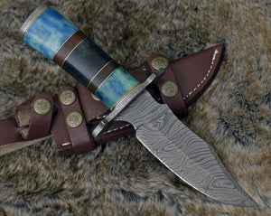 "DAMASCUS HUNTING KNIFE, Custom Damascus knife, 10.0"" ,Hand forged, Damascus steel knife, Damascus Guard, Rose wood & Bone Handle-Shokuninknives"