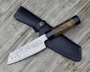 "CUSTOM, 10"", DAMASCUS KNIFE, Damascus Steel knife, Japanese Bunka knife w/ Exotic Mango Burl & Wenge Wood handle, Chef knife, Professional-Shokuninknives"